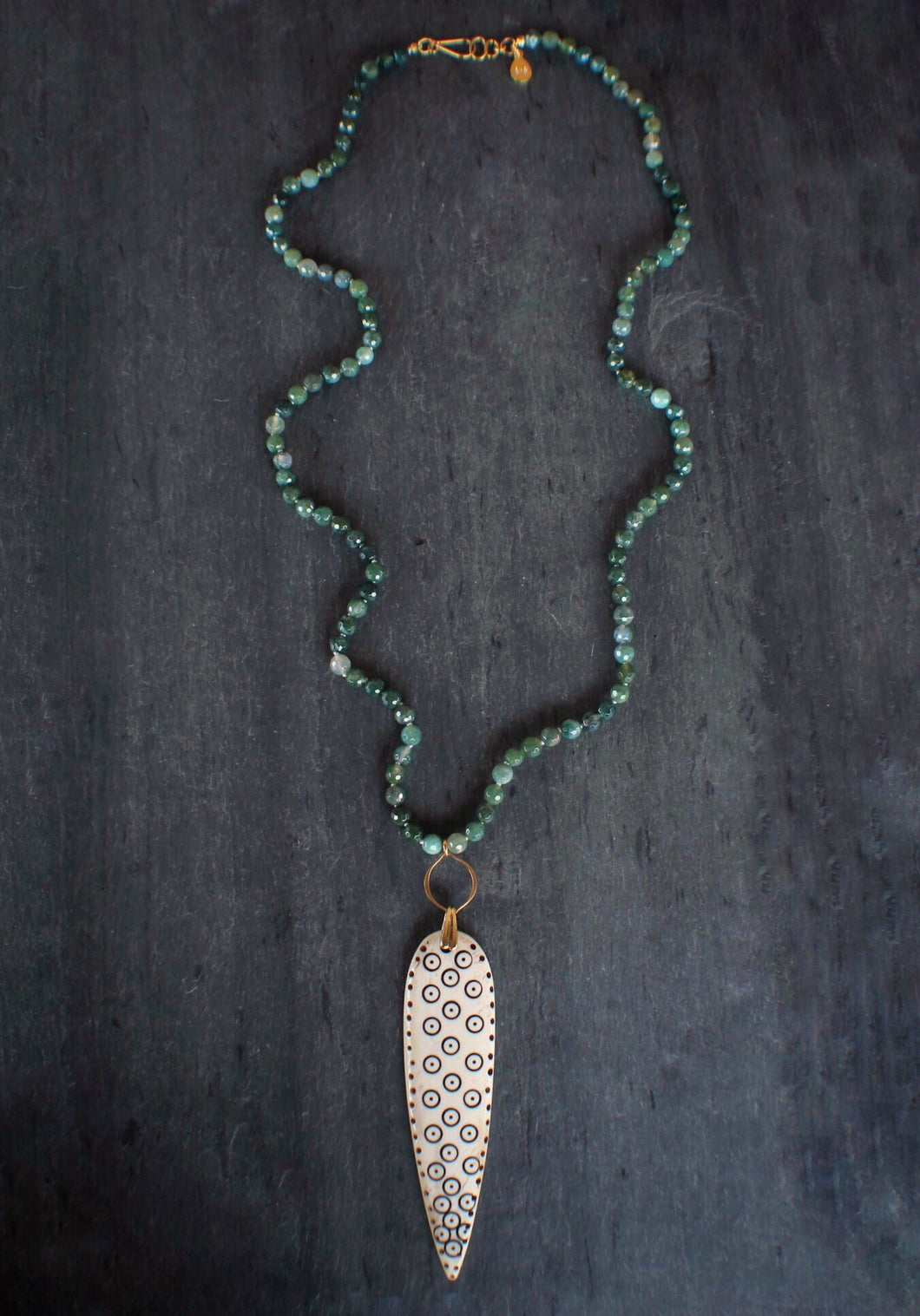 Moss Agate & Tribal Bone Necklace