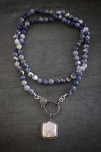 sea and stone sodalite blackened silver pearl diamond necklace