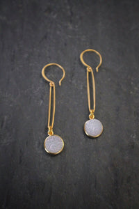 Sea and Stone oval link white druzy drop earrings