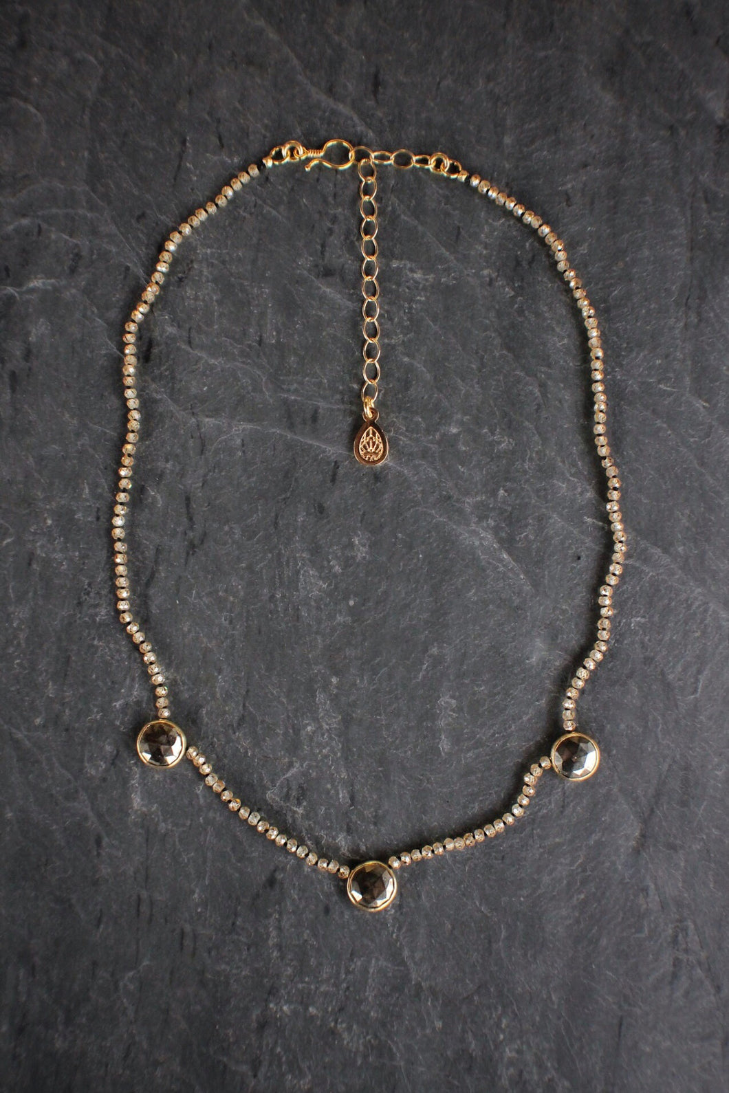 sea and stone jewelry Lab Grown Zircon & Pyrite Station Choker