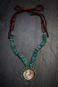 sea and stone jewelry Carved Mermaid & Turquoise Necklace