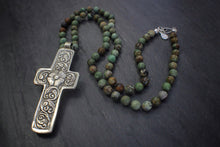 sea and stone jewelry Green Opal & Embellished Cross Necklace
