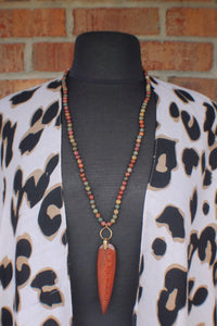 Carved Wood & Jasper Necklace