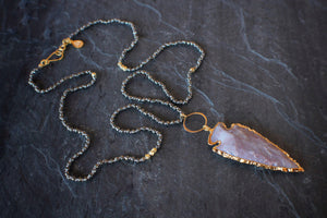sea and stone jewelry Pyrite & Arrowhead Necklace