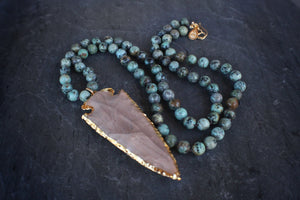 sea and stone jewelry African Turquoise & Arrowhead Necklace