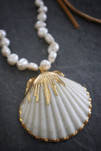 Sea and Stone Pearl White Scallop Suede Necklace