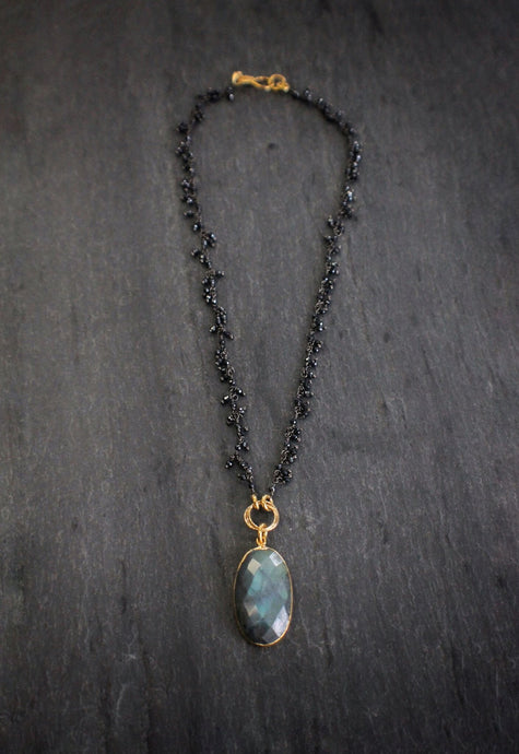 sea and stone labradorite and black spinel fringe necklace