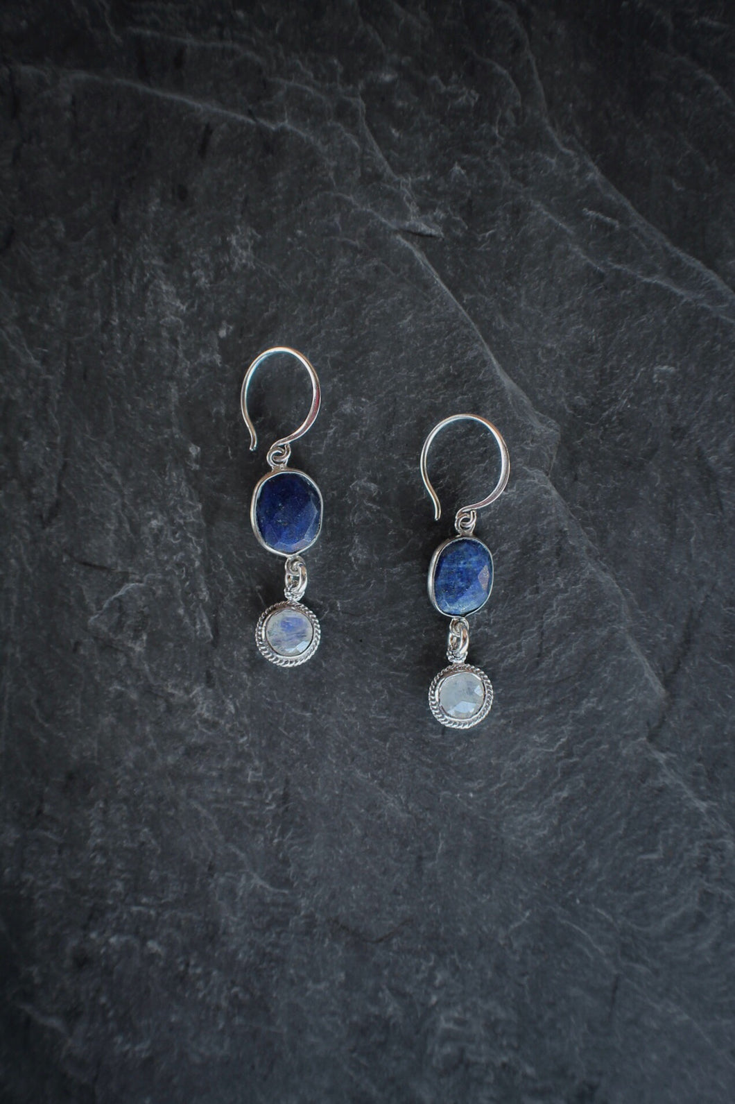 sea and stone jewelry Lapis & Moonstone Drop Earrings