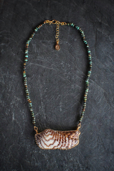 sea and stone jewelry Rhondelle African Turquoise & Turkey Wing Necklace
