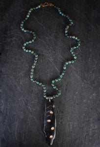 African Turquoise, Horn, & Diamond Necklace