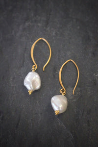 White Crescent Pearl Earrings