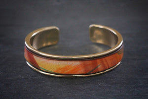 sea and stone tropical print leather inlay cuff bracelet thick gold