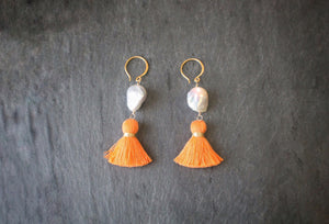 sea amd stone jewelry Baroque Pearl & Orange Tassel Earrings