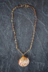 Garnet Chain and Shell Necklace