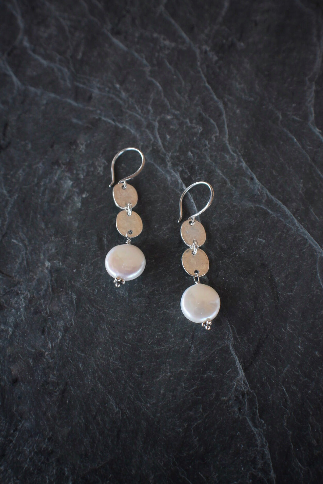 sea and stone jewelry Sterling Coin Pearl Drop Earrings