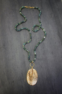 sea and stone jewelry Picture Jasper & Moss Agate Necklace
