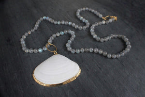 sea and stone jewelry Clam Shell & Labradorite Necklace