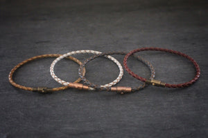 sea and stone leather bracelet with magnetic clasp