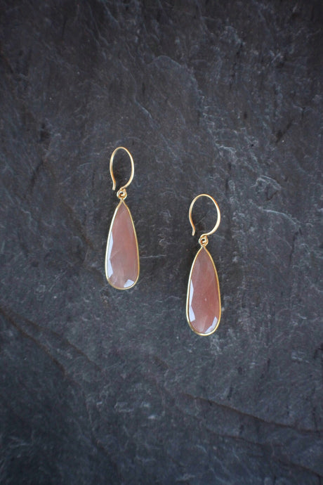 sea and stone jewelry Faceted Peach Moonstone Earrings