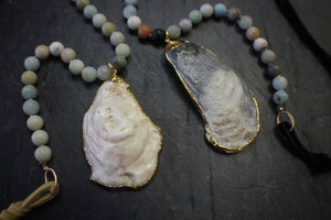 sea and stone jewelry Oyster, Amazonite, & Suede Necklace