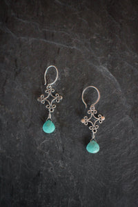 sea and stone jewelry Turquoise Filigree Drop Earrings