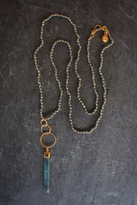 Pyrite & Kyanite Stick Necklace