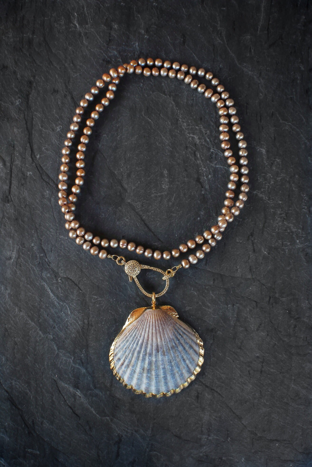sea and stone jewelry Champagne Pearl, Diamond, & Seashell Necklace