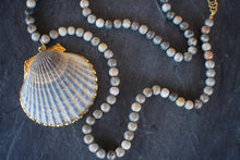 sea and stone jewelry Convertible Long/Short Fossil Coral & Scallop Necklacs