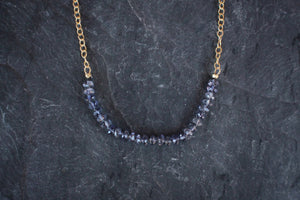 Gemstone Bar Necklace in Iolite