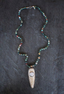 sea and stone jewelry Embellished Bone & Moss Agate Necklace