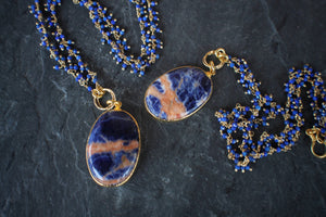 sea and stone jewelry Sodalite & Lapis Fringe Necklace