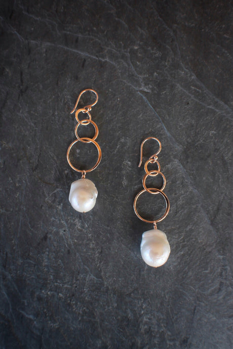 Linked Rose Gold & Baroque Pearl Earrings