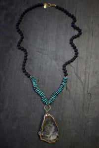 Oyster, Turquoise, & Lava Necklace