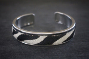 sea and stone jewelry Animal Print Haircalf Inlay Cuff Bracelets thick silver