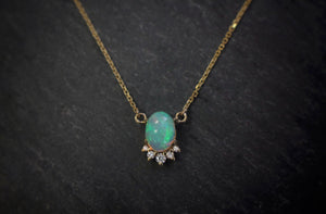 sea and stone jewelry Yellow Gold, Opal, & Diamond Necklace
