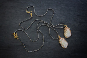 sea and stone jewelry Pyrite & Tiny Cardita Necklace