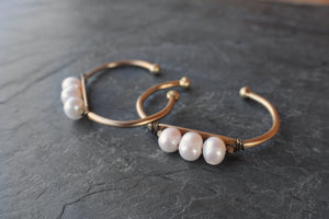 sea and stone jewelry Brass & Pearl Cuff Bracelet