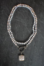 sea and stone jewelry Pearl Wrap Necklace With Pave Diamond Pendant