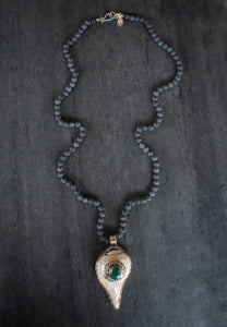 sea and stone jewelry Lava & Embellished Shell Necklace