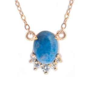 Yellow Gold, Denim Lapis, & Diamond Necklace
