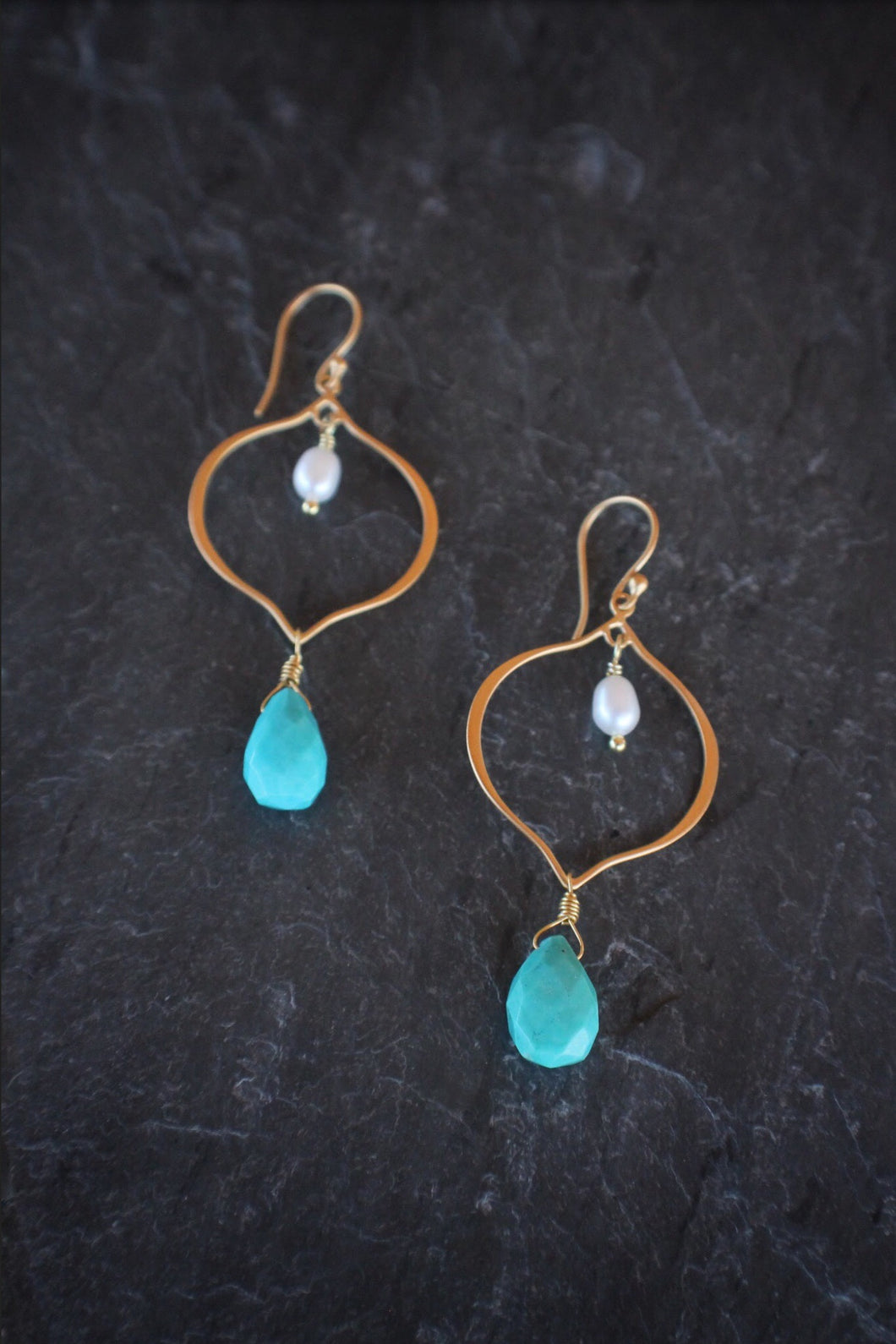 sea and stone jewelry Turquoise Lotus Drop Earrings