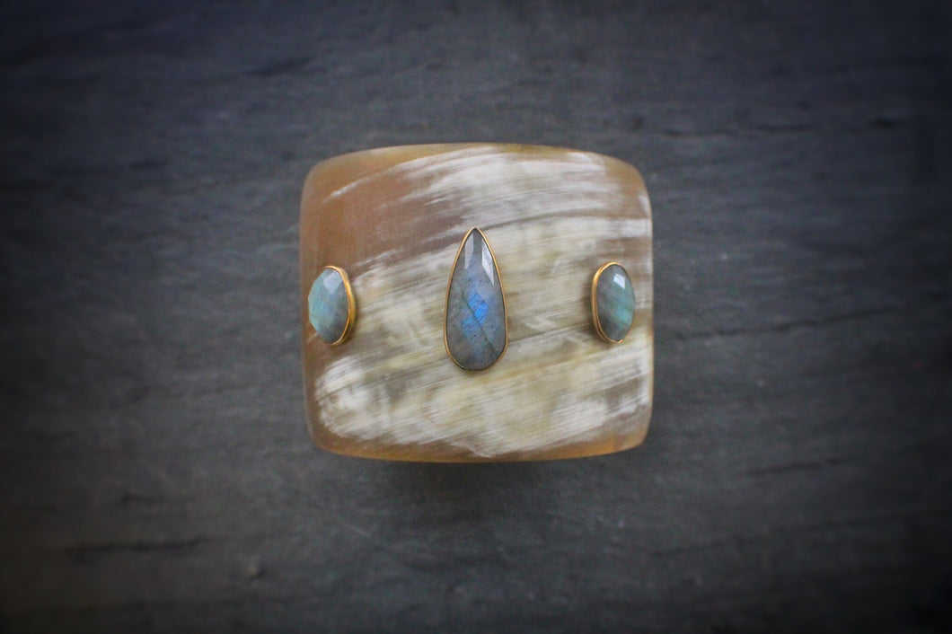 sea and stone jewelry Labradorite Embellished Horn Cuff