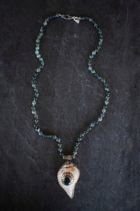 sea and stone jewelry Moss Agate & Embellished Shell Necklace
