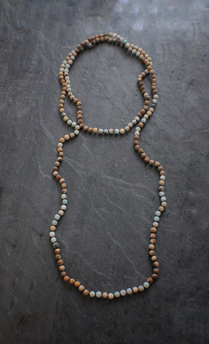 sea and stone jewelry X-Long Matte Amazonite & Jasper Wrap Necklace