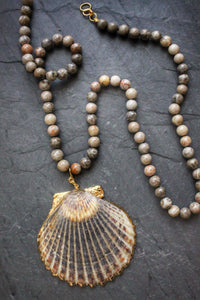 Convertible Long/Short Fossil Coral & Scallop Necklacs