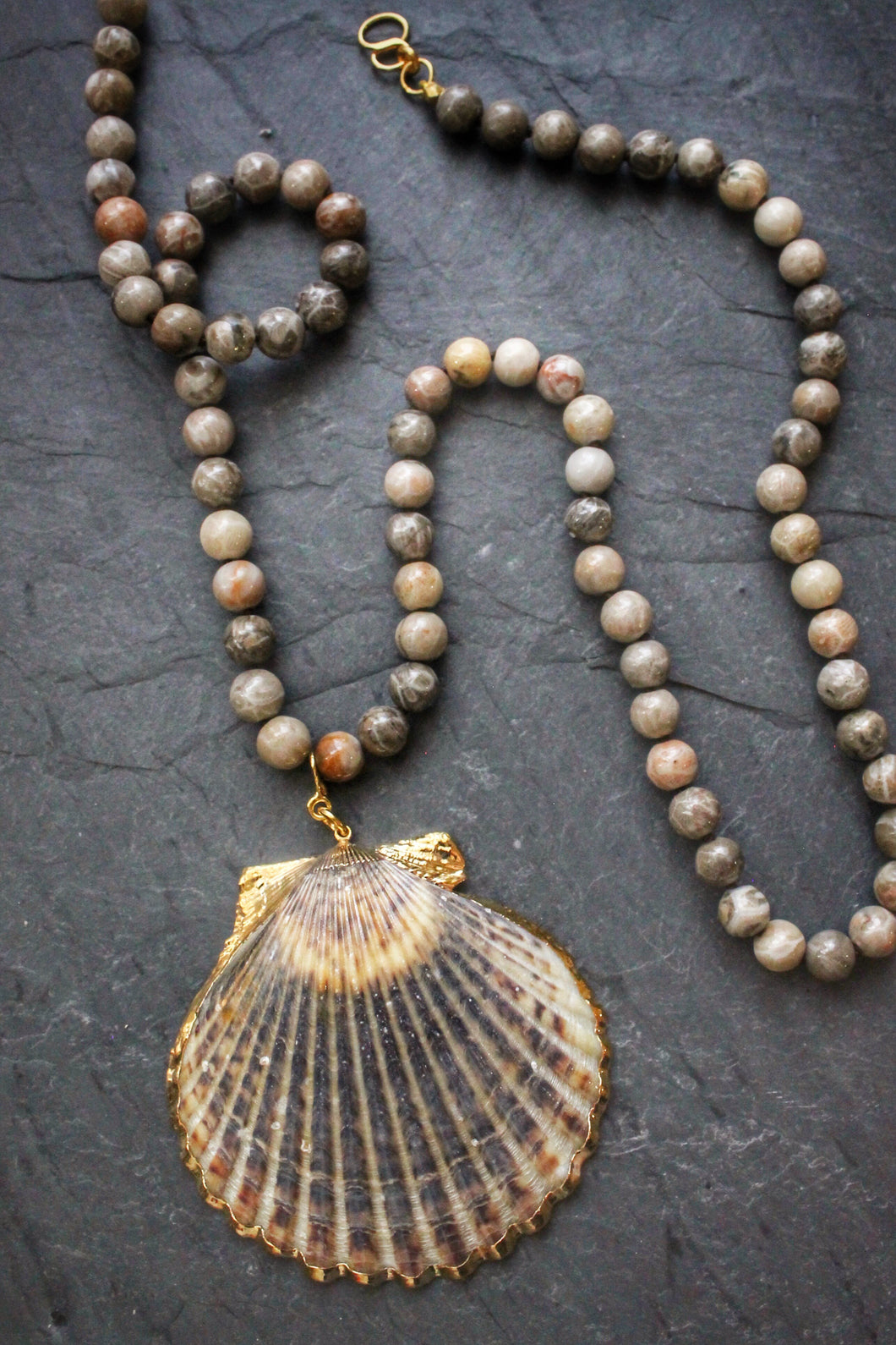 Sea and Stone Jewelry - Convertible Gold Edged Shell Pendant on Silk Threaded Amazonite Bead necklace