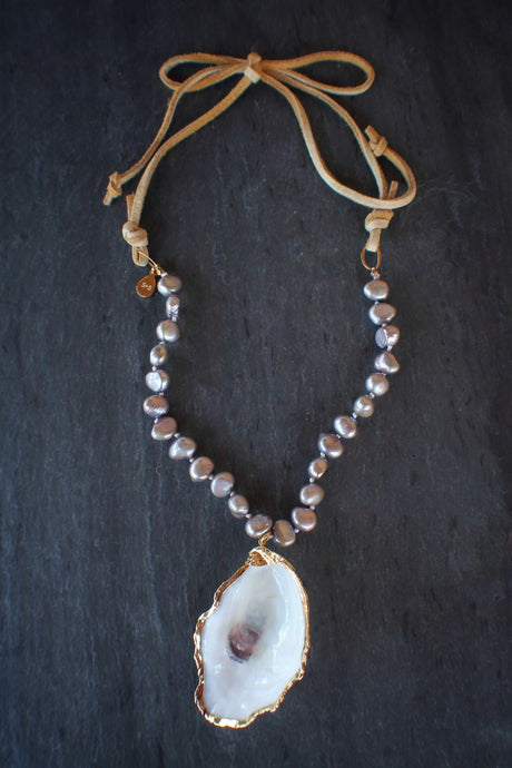 sea and stone jewelry Oyster, Lavender Pearls, & Suede Necklace