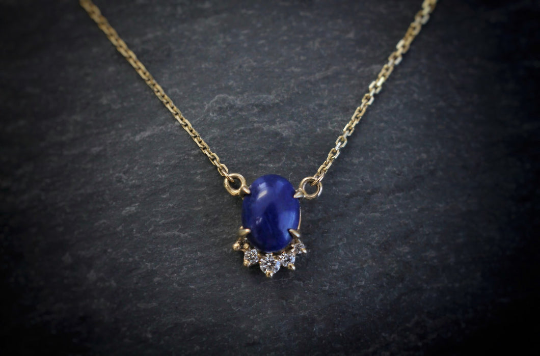 sea and stone jewelry Yellow Gold, Lapis Lazuli, & Diamond Necklace