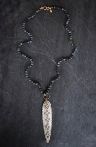 sea and stone jewelry Snowflake Obsidian & Bone Spear Necklace