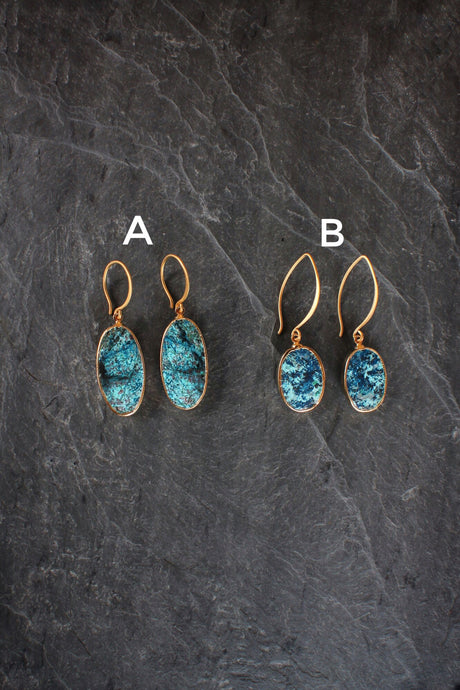 sea and stone jewelry Chrysocola Drop Earrings